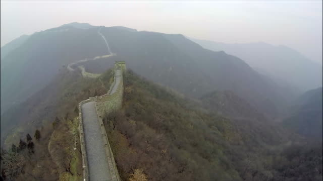 Great Wall of China aerial footage.