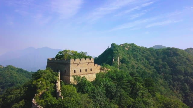 great wall of china aerial view - mutianyu stock videos & royalty-free footage