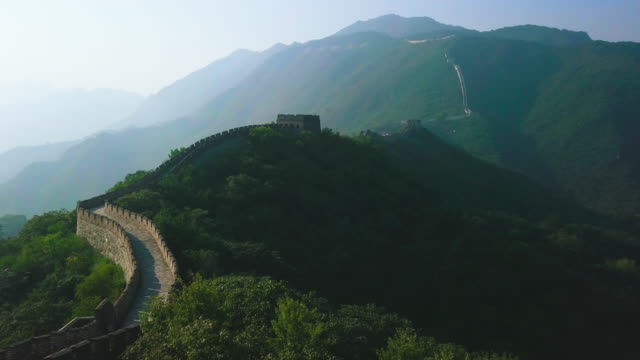 great wall of china aerial view - ancient stock videos & royalty-free footage