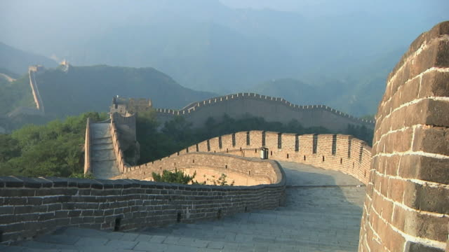 ws great wall of china at badaling pass / beijing, china - great wall of china stock videos & royalty-free footage