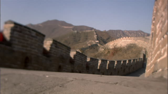 ws, great wall of china, china - stationary process plate stock videos and b-roll footage