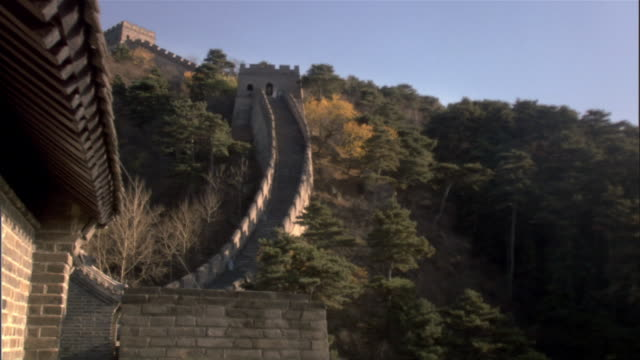ms, great wall of china, china - stationary process plate stock videos and b-roll footage