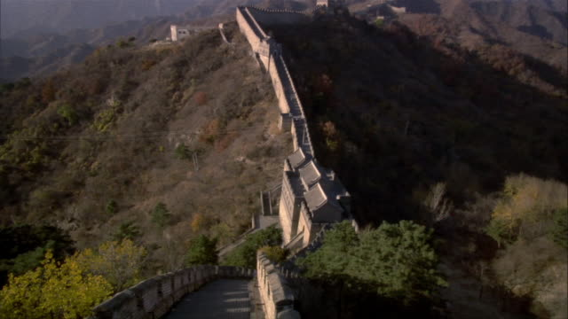 ws, ha, pan, great wall of china, china - stationary process plate stock videos and b-roll footage