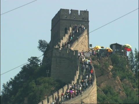 great wall of china crowded with tourists, badaling, china - badaling stock videos and b-roll footage