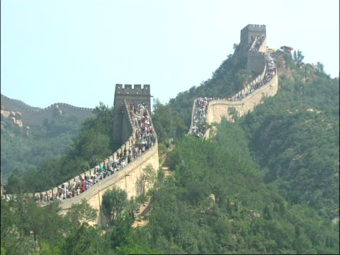 WA Great Wall of China crowded with tourists, Badaling, China