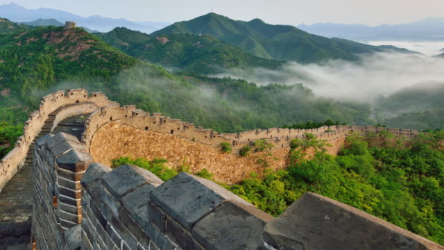 great wall of china in stratosphere fog, china - great wall of china stock videos & royalty-free footage