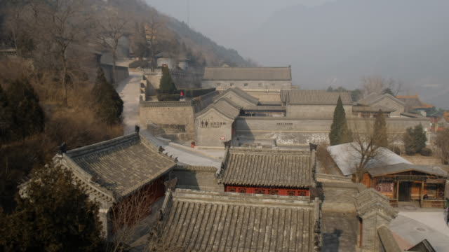 Great wall of China in winter season  , foggy on the peak , Beijing , China