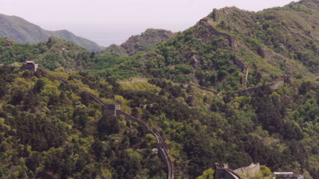 w/s, great wall of china, mutianyu, mountains, woods, beijing, china - mutianyu stock-videos und b-roll-filmmaterial