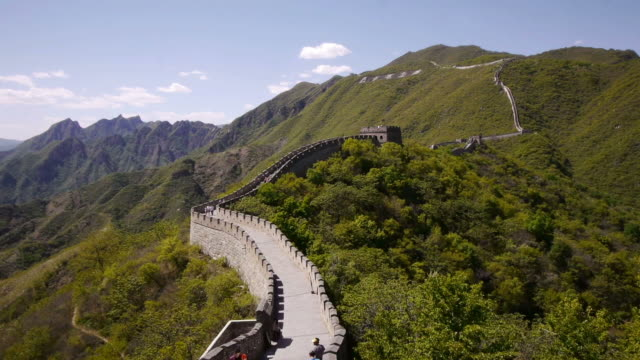 w/s, great wall of china, mutianyu, mountains, woods, chinese characters, beijing, china - mutianyu stock-videos und b-roll-filmmaterial