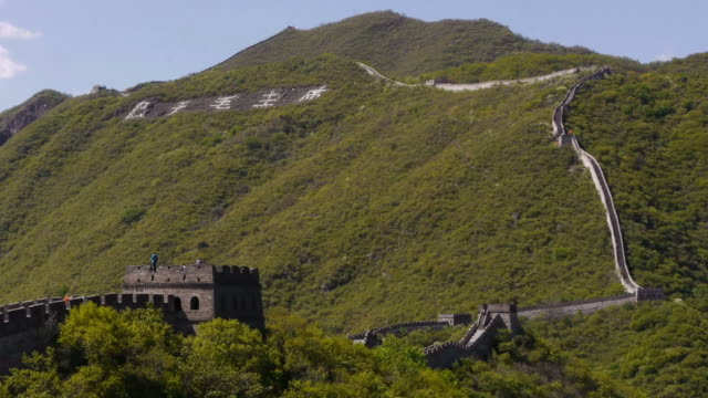 great wall of china, mutianyu, mountains, woods, stairs, chinese characters, beijing, china - mutianyu stock-videos und b-roll-filmmaterial