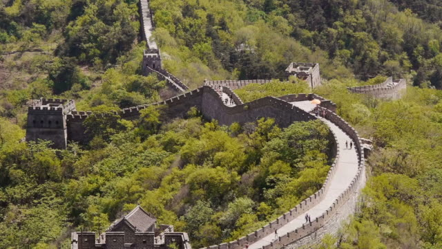 w/s, great wall of china, mutianyu, watchtowers, woods, beijing, china - mutianyu stock-videos und b-roll-filmmaterial