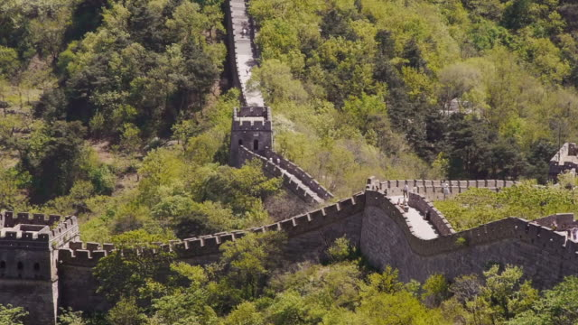 stockvideo's en b-roll-footage met great wall of china, mutianyu, watchtowers, woods, beijing, china - mutianyu
