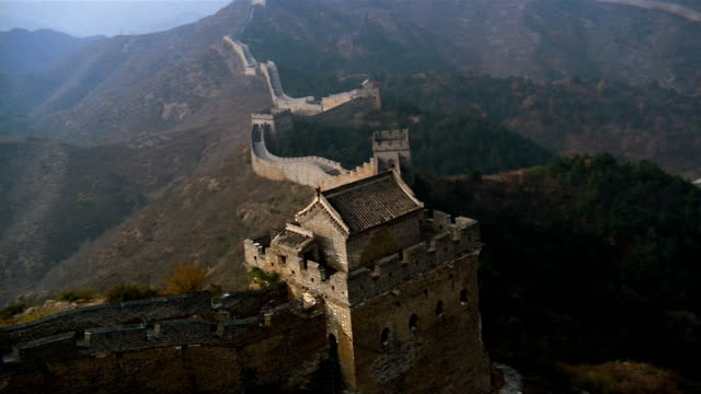 aerial, great wall of china  - surrounding wall stock videos & royalty-free footage