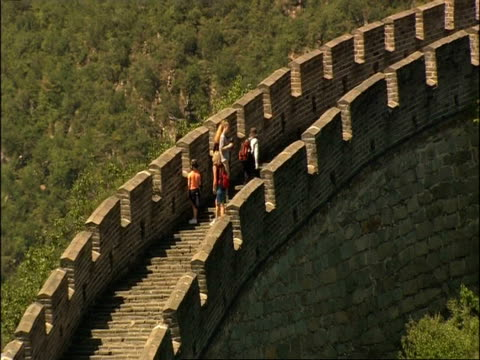 WA Great Wall snaking up hill, zoom in to tourists on staircase, Great Wall of China, Mutianyu, China
