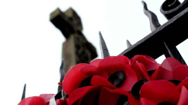 great war or world war 2 monument with poppy wreath and focus pull on rememberance day - 戦争記念碑点の映像素材/bロール