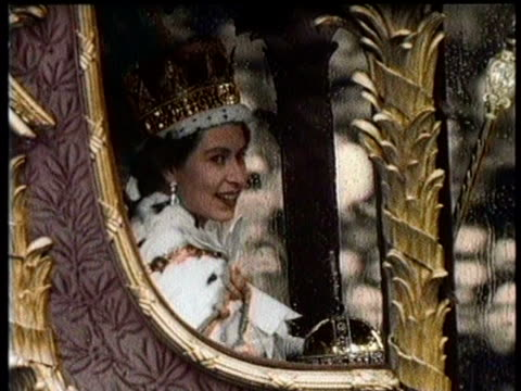 / greatest headlines of the century / coronation of queen elizabeth ii / the queen's horsedrawn carriage returns to westminster abbey trough streets... - elizabeth ii stock videos & royalty-free footage