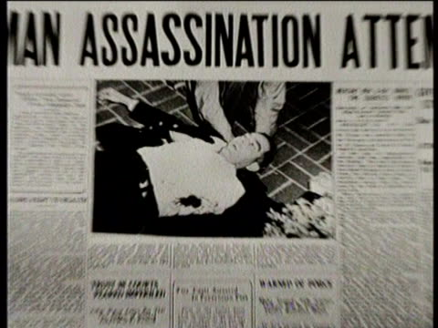 / greatest headlines of the century / newspaper headline for the dailychronicle reads truman assassination attempt / attempted assassination of... - murder stock videos & royalty-free footage