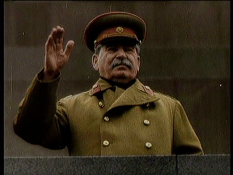 greatest headlines of the century / no audio / political shakeup in russia / various footage of joseph stalin / a younger stalin meeting with... - newsreel stock videos & royalty-free footage