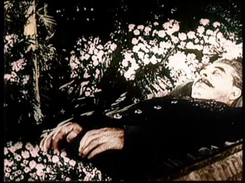 vídeos y material grabado en eventos de stock de greatest headlines of the century / no audio / political shakeup in russia / footage of joseph stalin / stalin in an openfaced coffin / russian... - ataúd