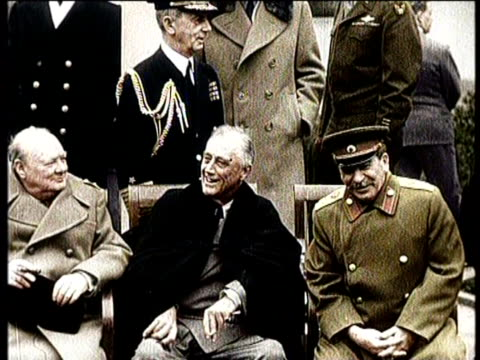vídeos y material grabado en eventos de stock de greatest headlines of the century / no audio / stalin dies in moscow in march 1953 / stalin sitting with churchill and fdr / russian army soldiers... - franklin roosevelt