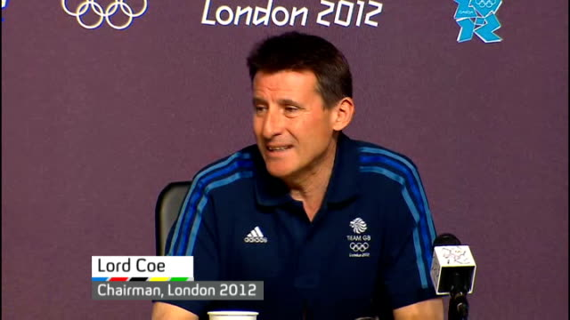 greatest olympian debate england london stratford olympic park int lord coe press conference sot in medal tally is the most successful but don't... - t in the park stock-videos und b-roll-filmmaterial