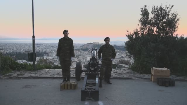 greece celebrating the independence day of march 25th soldiers firing salut shots on lycabettus hill in athens on march 25 2017 - lycabettus hill stock videos & royalty-free footage