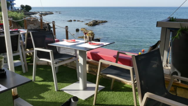 Greece Crete cafe table with sea view