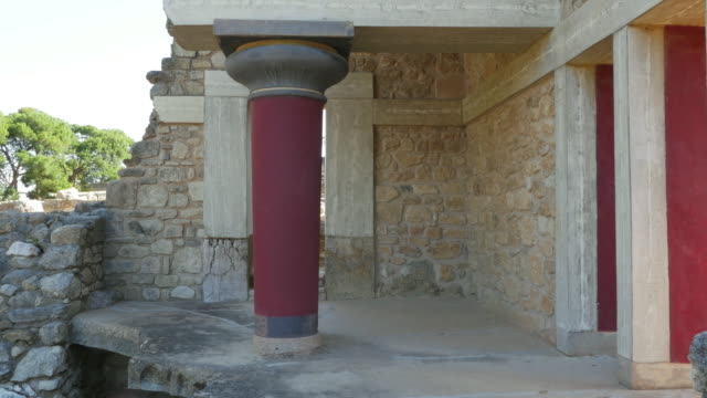 Greece Crete Knossos column in ruin