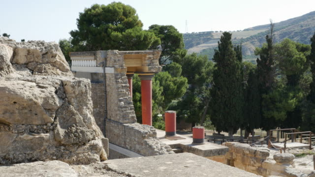 Greece Crete Knossos columns frame a view of the countryside