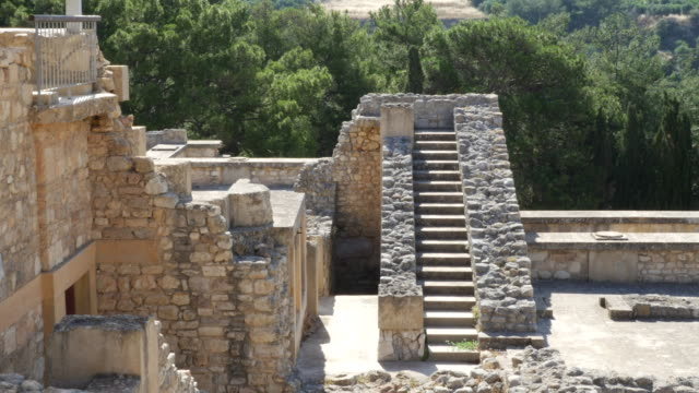 Greece Crete Knossos looking down at staircase