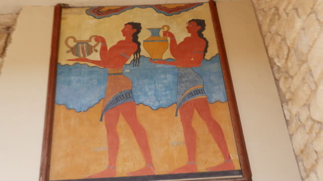 Greece Crete Knossos painting of men in ruin