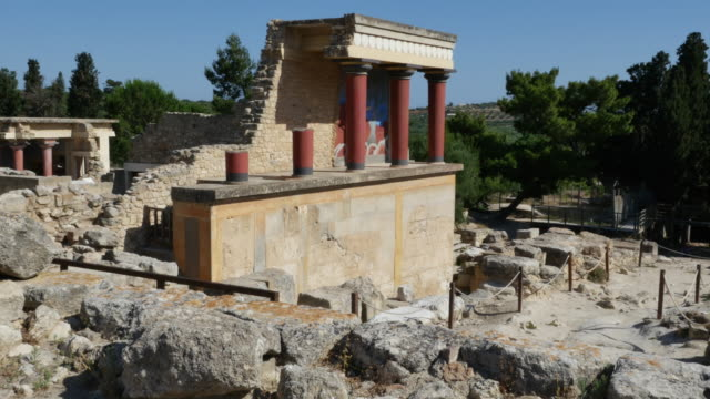 Greece Crete Knossos red columns on ruin