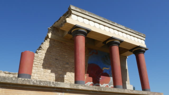 Greece Crete Knossos restored portico blue sky