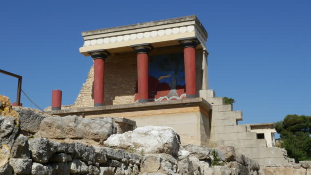 Greece Crete Knossos restored portico view