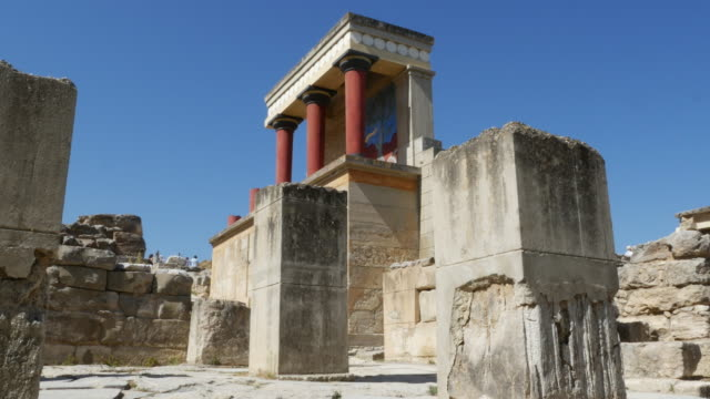Greece Crete Knossos restored ruin side view