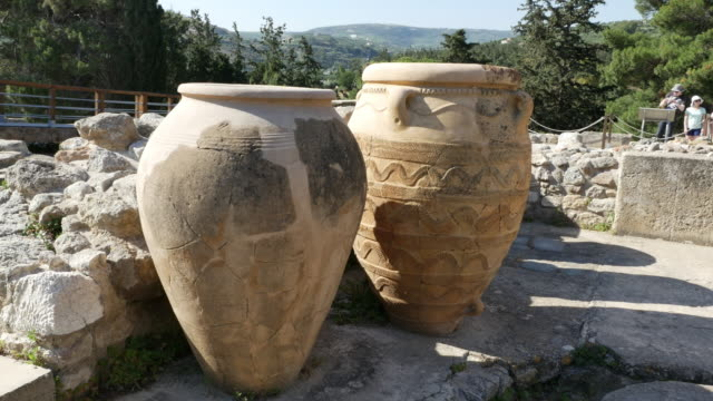 Greece Crete Knossos storage jars in ruin