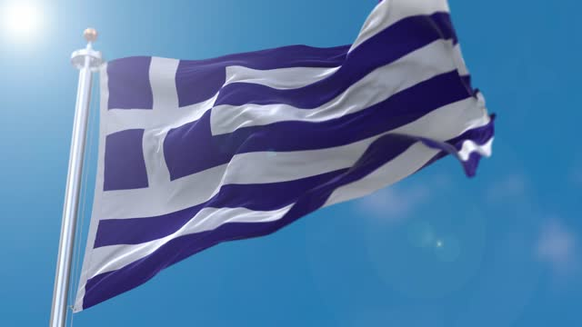 greece flag flowing in the wind - greek culture stock videos & royalty-free footage