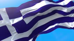 Greece flag video waving 4K. Realistic Greek background. Greece background 3840x2160 px.
