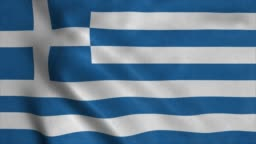 Greece flag waving in the wind. Realistic flag background. Looped animation background