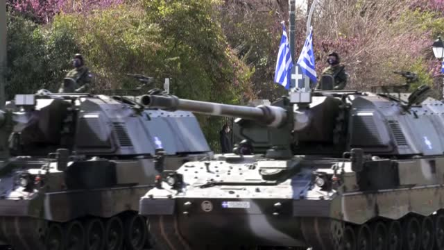 greece marks 200 years since the start of its independence war with the ottoman empire with parades and ceremonies attended by britain's prince... - athens greece stock videos & royalty-free footage
