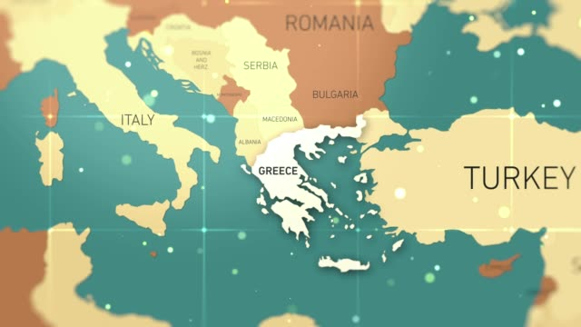 greece on world map stock video - greece stock videos & royalty-free footage