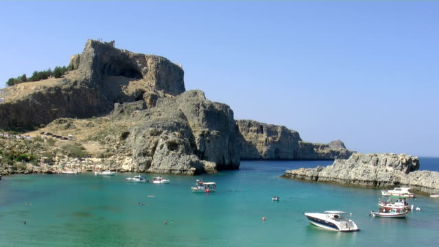 greece, rhodes, lindos st. pauls bay - rhodes dodecanese islands stock videos & royalty-free footage