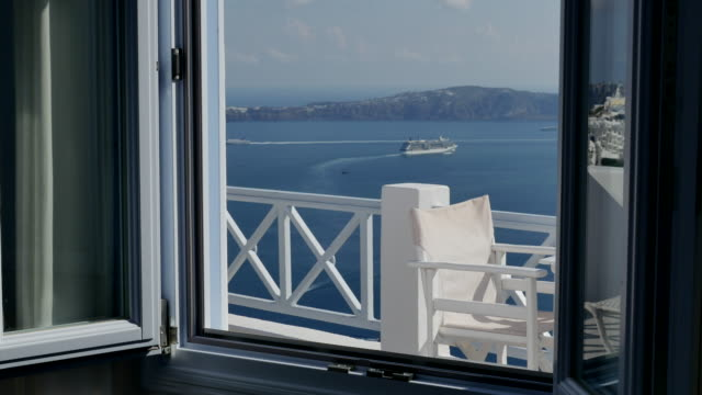 Greece Santorini caldera seen through a window