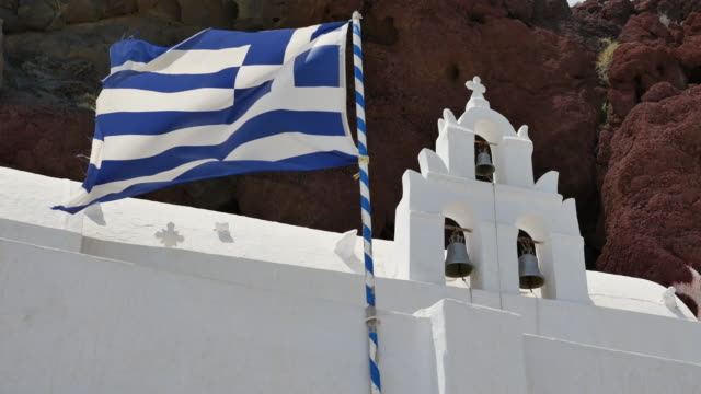 greece santorini saint nicholas church greek flag - greek flag stock videos & royalty-free footage
