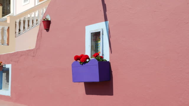 greece santorini window with window box - window box stock videos & royalty-free footage