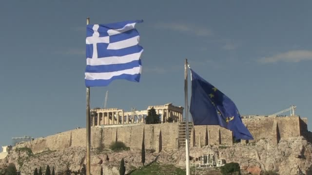 greece's economy contracted by 04 percent in the fourth quarter of 2016 compared with the previous quarter according to the state statistics office... - grecia stato video stock e b–roll
