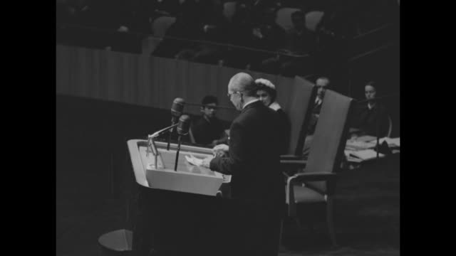 Greece's King Paul steps to podium and begins delivering speech to the UN General Assembly his wife Queen Frederica sitting in chair to his right