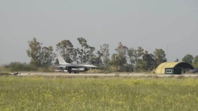 greek and us air force aircraft take off from andravida air base greece during exercise iniochos 19 - afterburner stock videos and b-roll footage