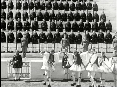 greek army guards dancing at the temple of olympian zeus temple of olympian zeus on january 01 1934 in greece - 1934 stock videos & royalty-free footage