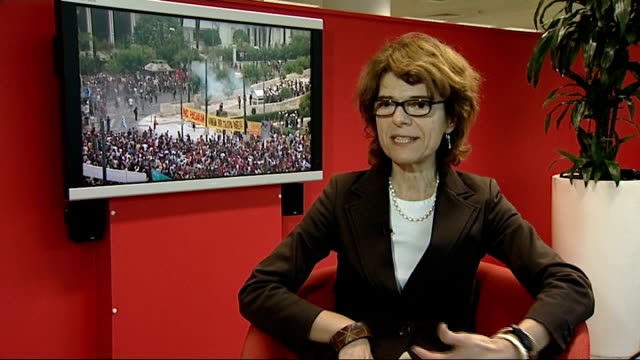 greek debt crisis may lead to eurozone collapse england london int vicky pryce set up shots and interview sot - ビッキー・プライス点の映像素材/bロール